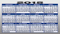 2015 Calendar for the back of a business card