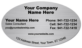 Unique oval business cards brushed steel oval business card colourmoves